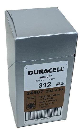 Auditiva Duracell Tamanho 312 Tarja Marrom / 60 Pilhas