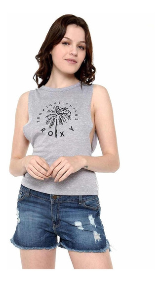 Playera Sin Mangas Tropical Things Gris Roxy