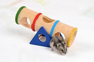 Hamster Juguete De Madera Balancin Tunel Colorido Jaula Cas