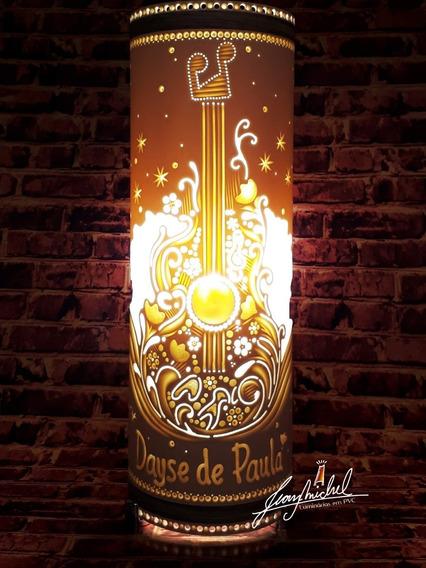 Luminária Artesanal Em Pvc Tema Música Com Nome.