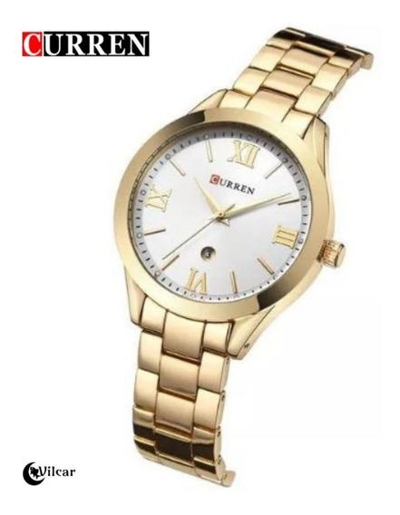 Relógio Feminino Dourado Curren 9007 Quartzo - Original!!!