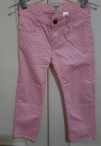Pantalón Osh Kosh Elastizado Rosa Lunares Fucsia Talle 7