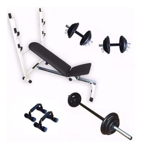 Imagem 1 de 9 de Kit Fitness Banco Supino Barras Anilhas E Apoio De Flexão