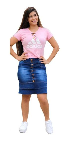 Roupas Femininas Saia Midi Jeans Lycra Moda Evangélica 066