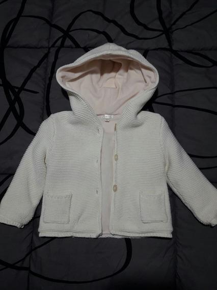 Campera Blanca Tejida Polar Bebe Niña