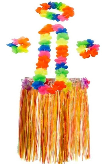 Disfraz Hawaiiana Hawaii Pollera Flores Halloween Fiesta