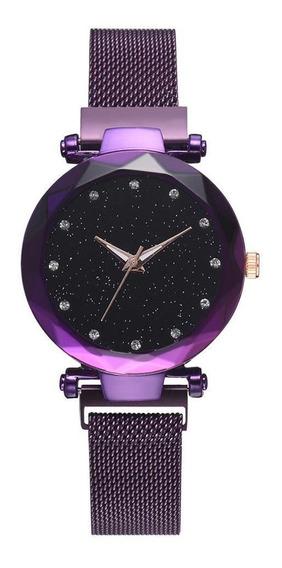 Reloj Mayoreo Iman Mujer Malla Metal Moda Dama Magneto