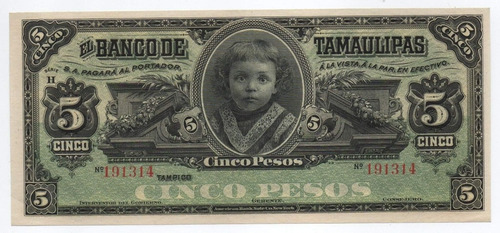 Imagen 1 de 2 de Mexico 5 Pesos Banco Tamaulipas 1915