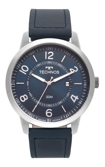 Relógio Masculino Technos Couro Azul 2115mst/0a