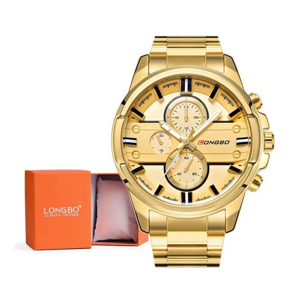 Relógio Masculino Longbo Original Aço Inox Dourado Com Caixa