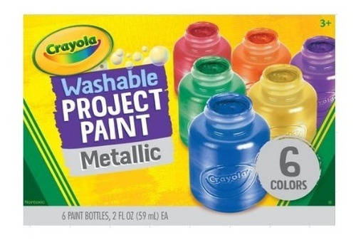 Crayola: Caja X 6 Pintura Lavable Colores Metálicos