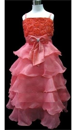 Vestido Infantil Festa Princesa Daminha Coral Longuete