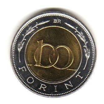 Moneda Hungria Año 2004 Bimetalica 100 Forint Sin Circular