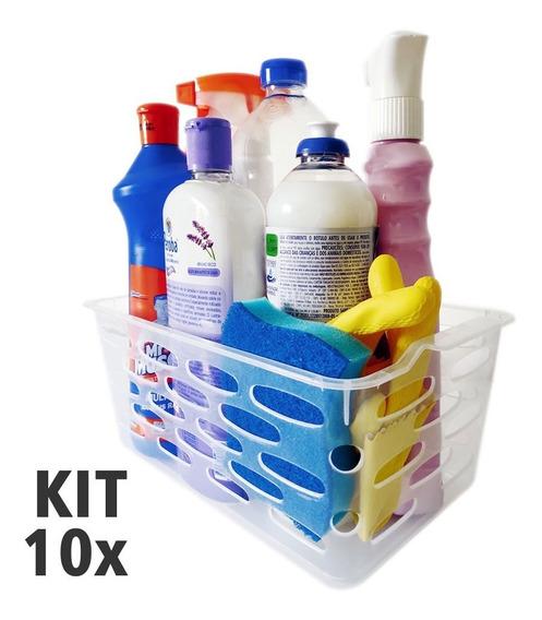 Kit Com 10 Cestas Organizadoras Transparente 27,5x16x11cm