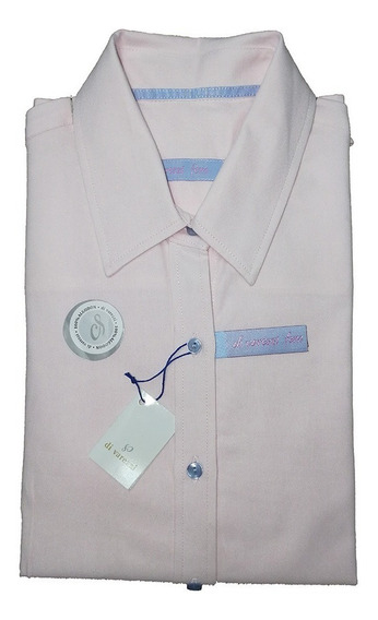 Camisa Dama Di Varezzi Algodón Rosa Oxford Manga Larga