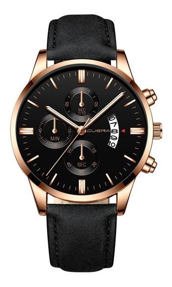 Relógio Masculino De Pulso Estilo Couro Quartzo Design Luxo
