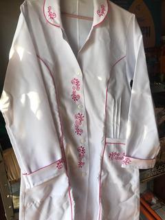 Jaleco Branco E Rosa (tamanho M) Lindo