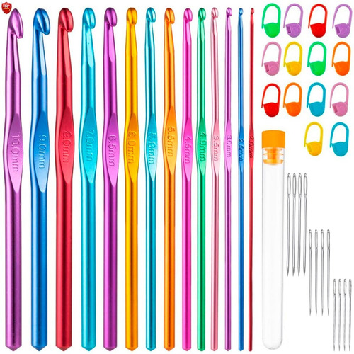 Imagen 1 de 8 de Set 40 Piezas 14 Agujas Crochet Metálicas  + Accesorios Gb