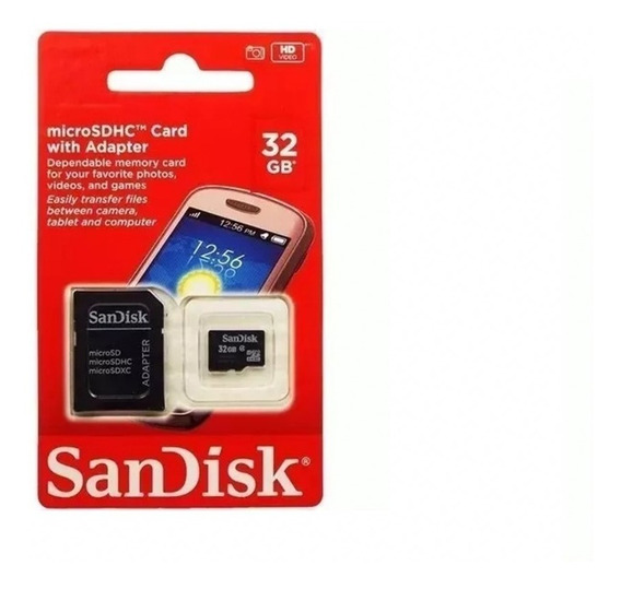 Cartão Memoria Micro Sd 32gb Adaptador Box Classe 4 Blister
