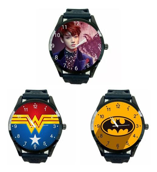 Kit 3 Relogios Batman Mulher Maravilha Jungkook Bts Hq T1585