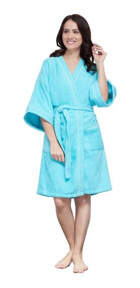 Bata De Baño Para Mujer Turquesa 100% Algodón Premium