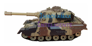 Carro Tanque De Guerra Rc Pila Recargable 1:28 Dispara Balin