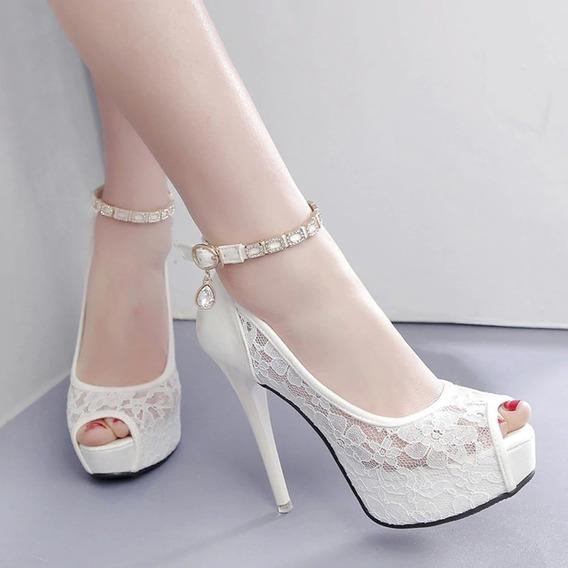 Sapato Feminino Renda Peep Toe Noiva Rosa , Branco E Preto