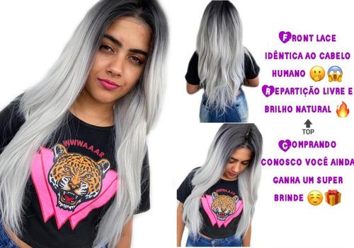 Peruca Front Lace Wig Lisa Cinza Repartição Livre 4x4 Profunda + Touca Wig Cap Uso Diário