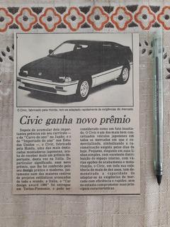 Recorte Jornal Matéria Honda Civic 1984 Ganha Prêmio