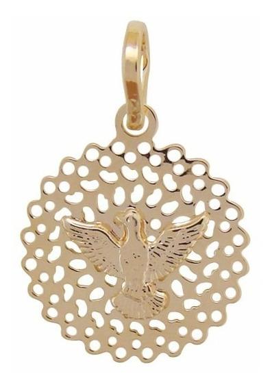 Pingente Medalha Pequena Rendada Com Espirito Santo De Deus