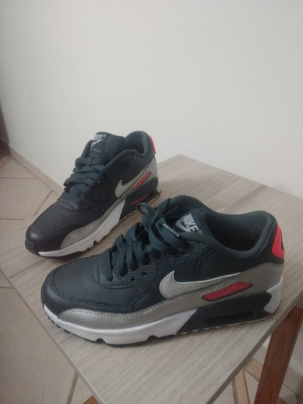 Tênis Nike Air Max 90 Gs Leather Semi Novo