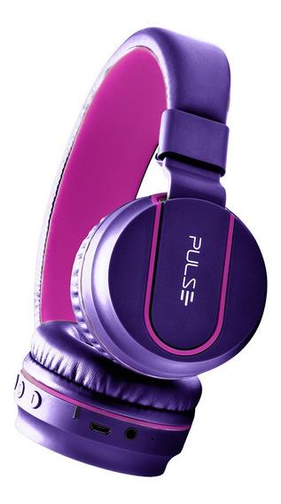 Headphone Roxo E Rosa Pulse Bluetooth Entrada P2 Fone - Ph217