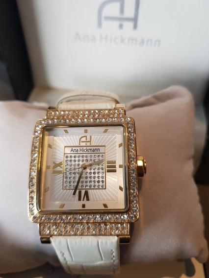 Relógio Feminino Dourado Ana Hickmann Pulseira Couro Branca