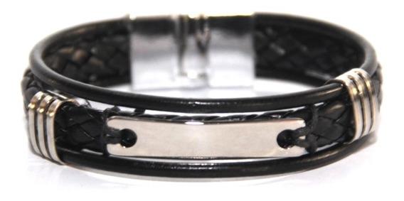 Pulseira Bracelet Preta Metais Couro Fecho Magnético