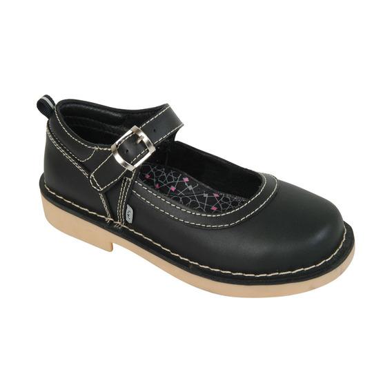 Zapato Niña Escolar Cuero Negro 72220112-i18