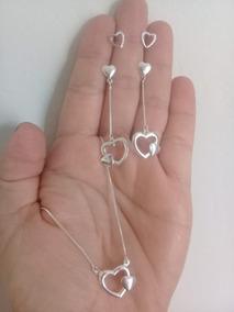 Conjunto 2 Brincos Coração + Colar Coração Em Prata
