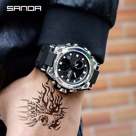 Relógio Esportivo Militar Sanda 739 (prata) + Caixa De Metal