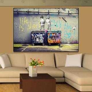 Cuadro Banksy En Canvas Artistico 60x80 Art Life Grafitti