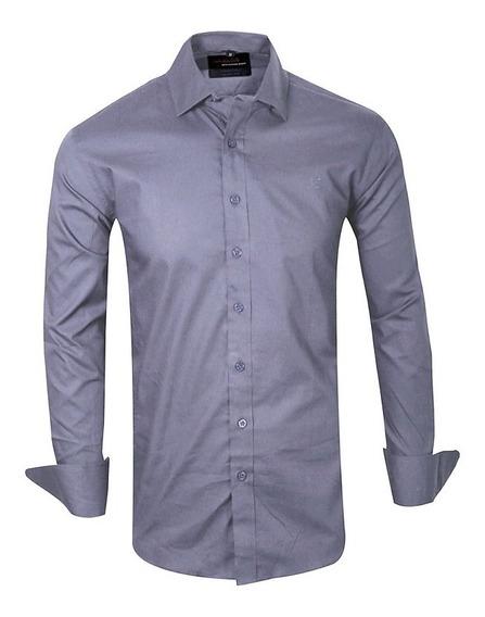 Camisas Elastizadas Hombre Lisas Vestir Vip Quality Import