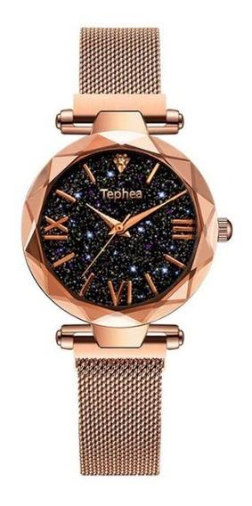 Relógio Feminino Céu Estrelado Pulseira Magnética Presente