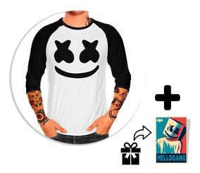 Envío Gratis Playera Raglan Caballero Marshmello + Sticker