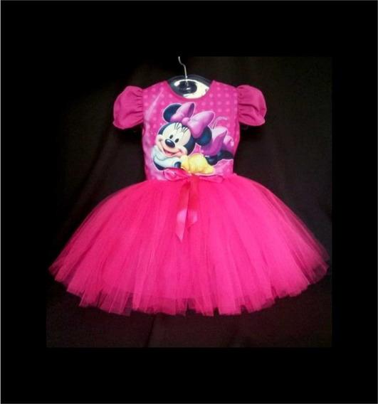 Vestido Infantil Minnie Rosa Fantasia Minnie Bailarina