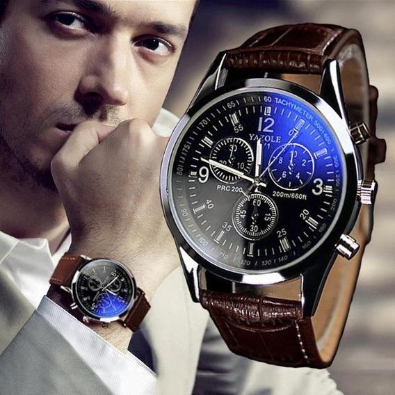 Relógio Luxo Masculino Original Pulso Social Pulseira Couro