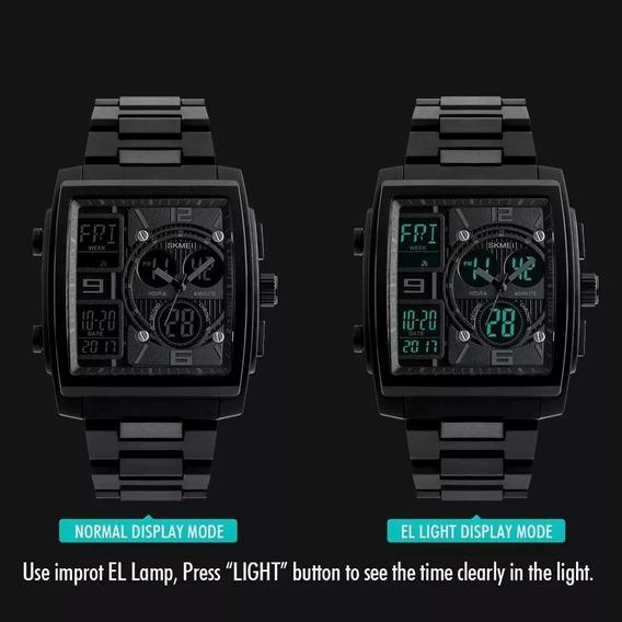 Relógio Ana/dig Skimei Luxo Caixa Quadrada