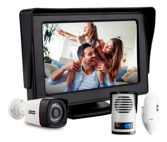 Kit Porteiro Eletrônico Interfone C/ Vídeo Monitor Cftv Cabo