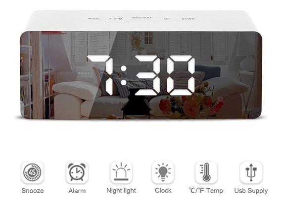 Led Espejo Alarma De Reloj Digital Dormitar Mesa Reloj Elect