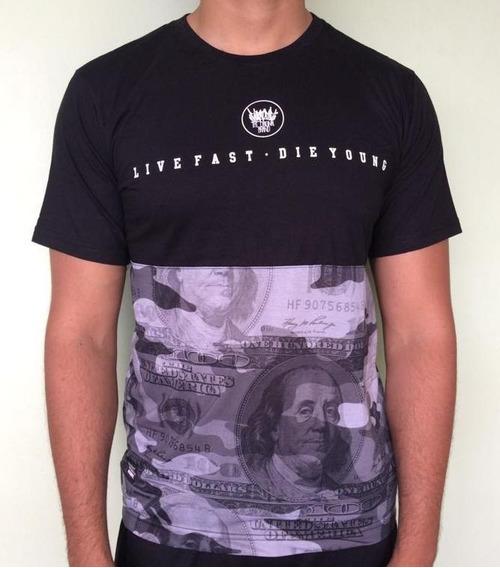 Camiseta Chronic Preta Barra Camuflada Dolar Original