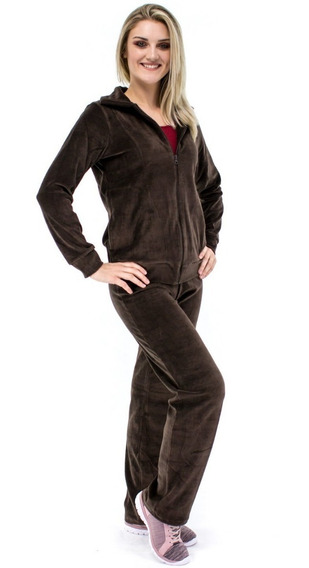 Conjunto Veludo Calça E Blusa Frio Plush Feminino Com Capuz