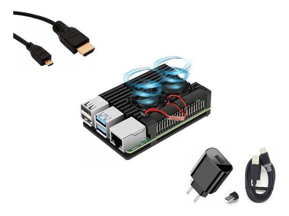 Super Case Raspberry Pi4 Cooler + Dissipadores + Hdmi +fonte