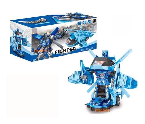 Robo Controle Remoto Helicoptero Carrinho Transformer Roboca